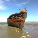 Schiffswrack bei Ebbe