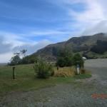 Ausblick direkt aus der Autoscheibe nach Erwachen an der Cable Bay