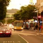 Colombo-Street in Christchurchs Innenstadt bei Goldlicht (von Marcus fotografiert)