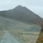 am goldenen Lindis Pass durch die Frontscheibe