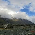 Berge, Wolken, Steine im Tasman Valley