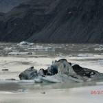 Eisscholle und Touristenboot