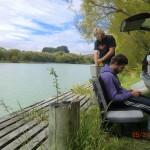 unser Platz versteckt an einem Steg des Lake Benmore