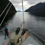 Doubtful Sound Overnight: Fahrtbeginn vom Deck, Wasser so ruhig