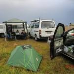 unser Platz an der Colac Bay - gemütlich mit Pavillon im Regen