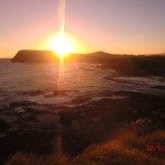 Sonnenuntergang über der Curio-Bay