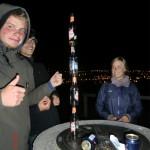 Geocachen am lustigen, letzten Dunedin-Abend (Felix, Basti und Milli)