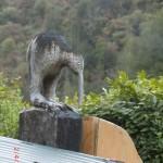 Kiwi auf einem Torpfosten