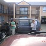 zufällig getroffen: Dani und Nils in einem Christchurcher Vorort