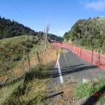 auf dem Weg zu Te Puia Hot Springs: frisch abgekippte Straßenspur