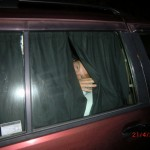 vorletzte Nacht in der blinkenden, leeren Joy (vor City Garden Lodge): Wolfi schon im Bettchen