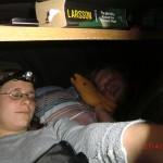 vorletzte Nacht in der blinkenden, leeren Joy (vor City Garden Lodge): wir in Joys Bauch
