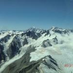 Flugzeugaussichten: Southern Alps, schneebedeckte Gipfel