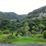 Karekare, versteckte Hütten in den Urwaldhügeln