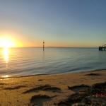 australischer Sonnenuntergang am Meer auf der Bellarine Peninsula vor Portalington