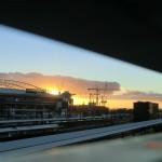 Abendhimmel von der Southern Cross Station, Melbourne