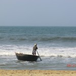 Nussschalenfahrer am Cua Dai Beach bei Hoi An