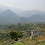 Ausblick über die Berge und Reisterrassen, Sapa